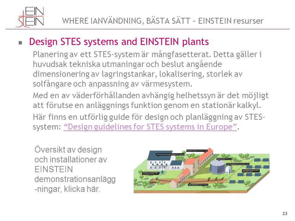 WHERE IANVÄNDNING, BÄSTA SÄTT – EINSTEIN resurser Design STES systems and EINSTEIN plants Planering av ett STES-system är mångfasetterat.