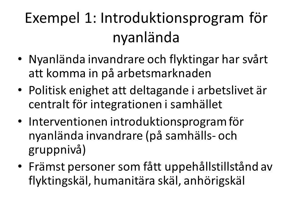 Exempel 1: Introduktionsprogram för nyanlända Nyanlända invandrare och flyktingar har svårt att komma in på arbetsmarknaden Politisk enighet att deltagande i arbetslivet är centralt för integrationen i samhället Interventionen introduktionsprogram för nyanlända invandrare (på samhälls- och gruppnivå) Främst personer som fått uppehållstillstånd av flyktingskäl, humanitära skäl, anhörigskäl