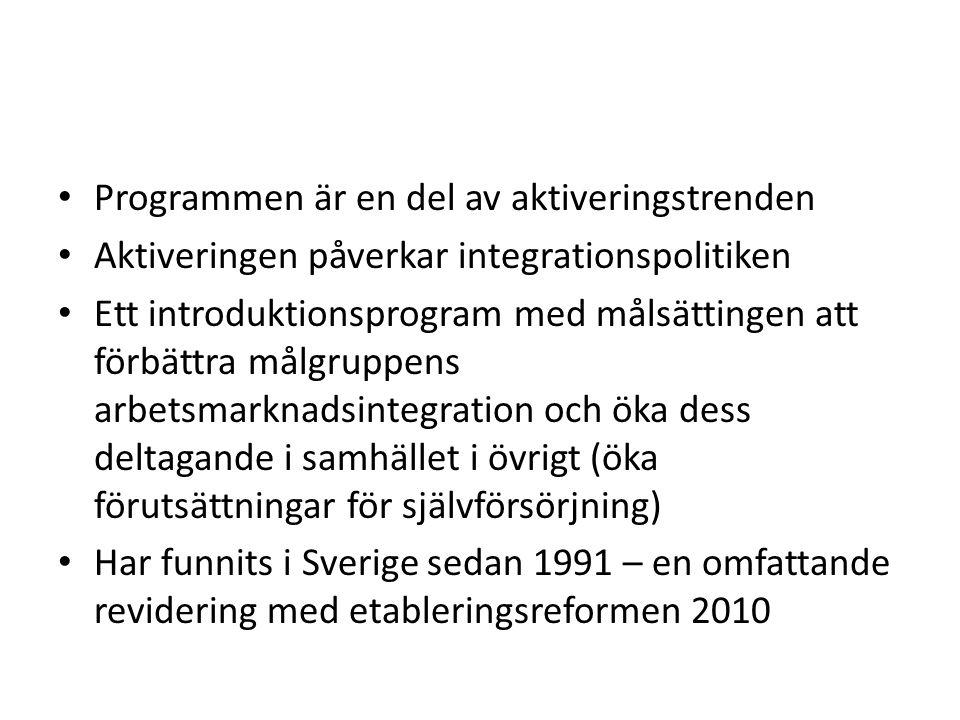 Programmen är en del av aktiveringstrenden Aktiveringen påverkar integrationspolitiken Ett introduktionsprogram med målsättingen att förbättra målgruppens arbetsmarknadsintegration och öka dess deltagande i samhället i övrigt (öka förutsättningar för självförsörjning) Har funnits i Sverige sedan 1991 – en omfattande revidering med etableringsreformen 2010