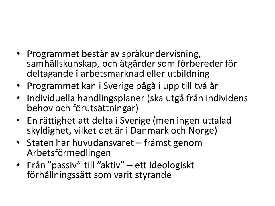Programmet består av språkundervisning, samhällskunskap, och åtgärder som förbereder för deltagande i arbetsmarknad eller utbildning Programmet kan i Sverige pågå i upp till två år Individuella handlingsplaner (ska utgå från individens behov och förutsättningar) En rättighet att delta i Sverige (men ingen uttalad skyldighet, vilket det är i Danmark och Norge) Staten har huvudansvaret – främst genom Arbetsförmedlingen Från passiv till aktiv – ett ideologiskt förhållningssätt som varit styrande