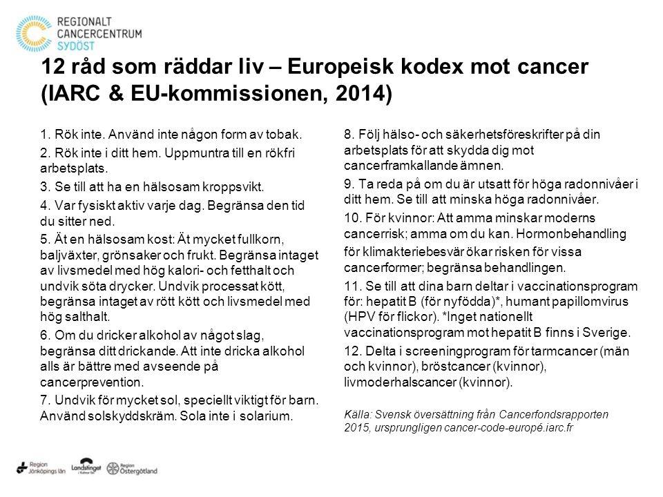 12 råd som räddar liv – Europeisk kodex mot cancer (IARC & EU-kommissionen, 2014) 1.