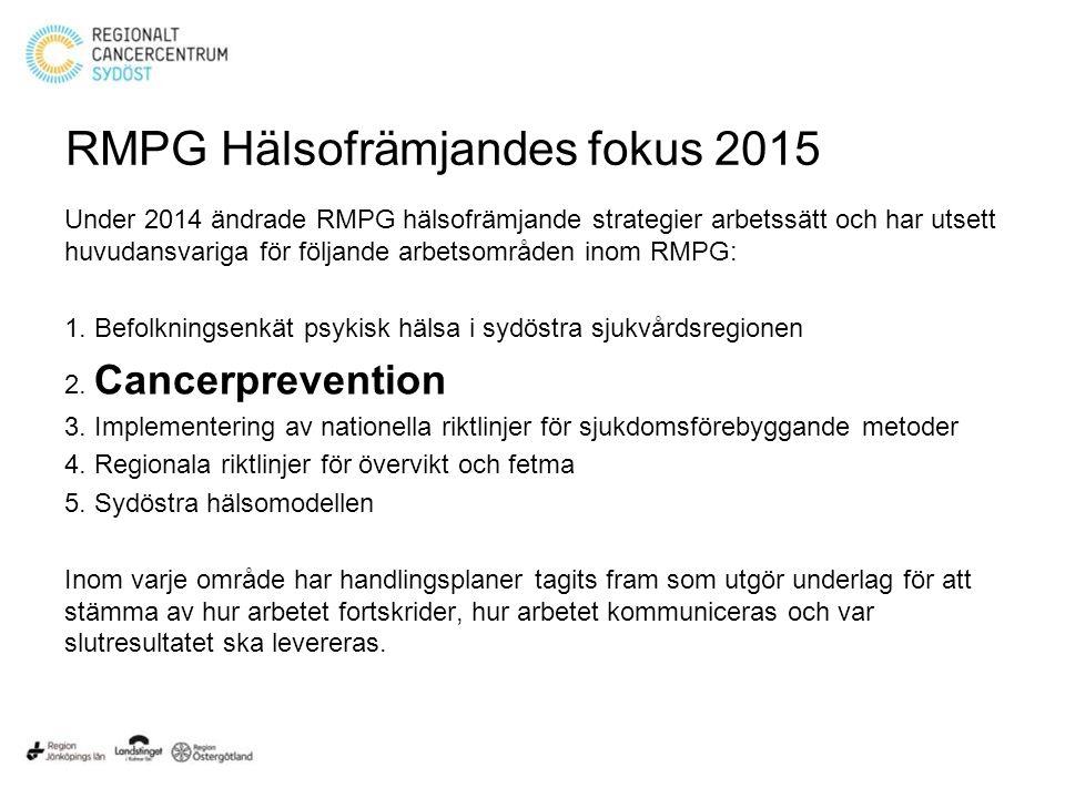 RMPG Hälsofrämjandes fokus 2015 Under 2014 ändrade RMPG hälsofrämjande strategier arbetssätt och har utsett huvudansvariga för följande arbetsområden inom RMPG: 1.