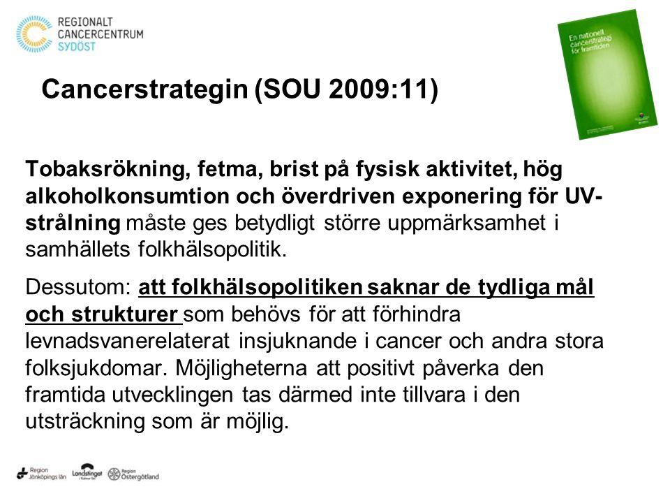 Cancerstrategin (SOU 2009:11) Tobaksrökning, fetma, brist på fysisk aktivitet, hög alkoholkonsumtion och överdriven exponering för UV- strålning måste ges betydligt större uppmärksamhet i samhällets folkhälsopolitik.