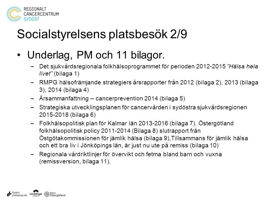 Socialstyrelsens platsbesök 2/9 Underlag, PM och 11 bilagor.