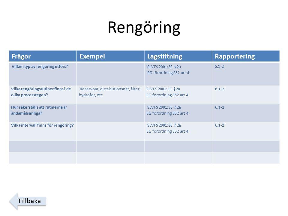 Rengöring FrågorExempelLagstiftningRapportering Vilken typ av rengöring utförs.