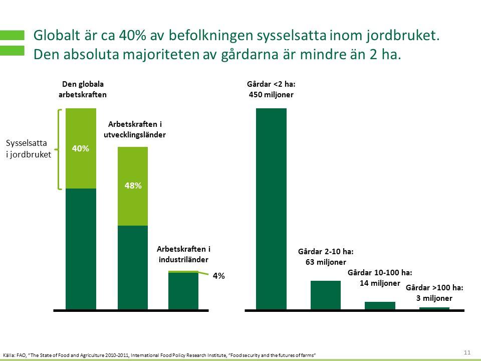 S TRATEGI - OCH AFFÄRSUTVECKLING FÖR HÅLLBART VÄRDESKAPANDE Globalt är ca 40% av befolkningen sysselsatta inom jordbruket.