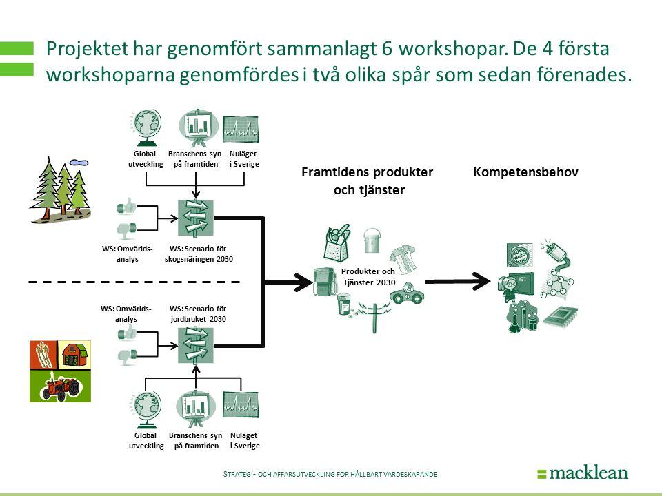 S TRATEGI - OCH AFFÄRSUTVECKLING FÖR HÅLLBART VÄRDESKAPANDE Projektet har genomfört sammanlagt 6 workshopar.