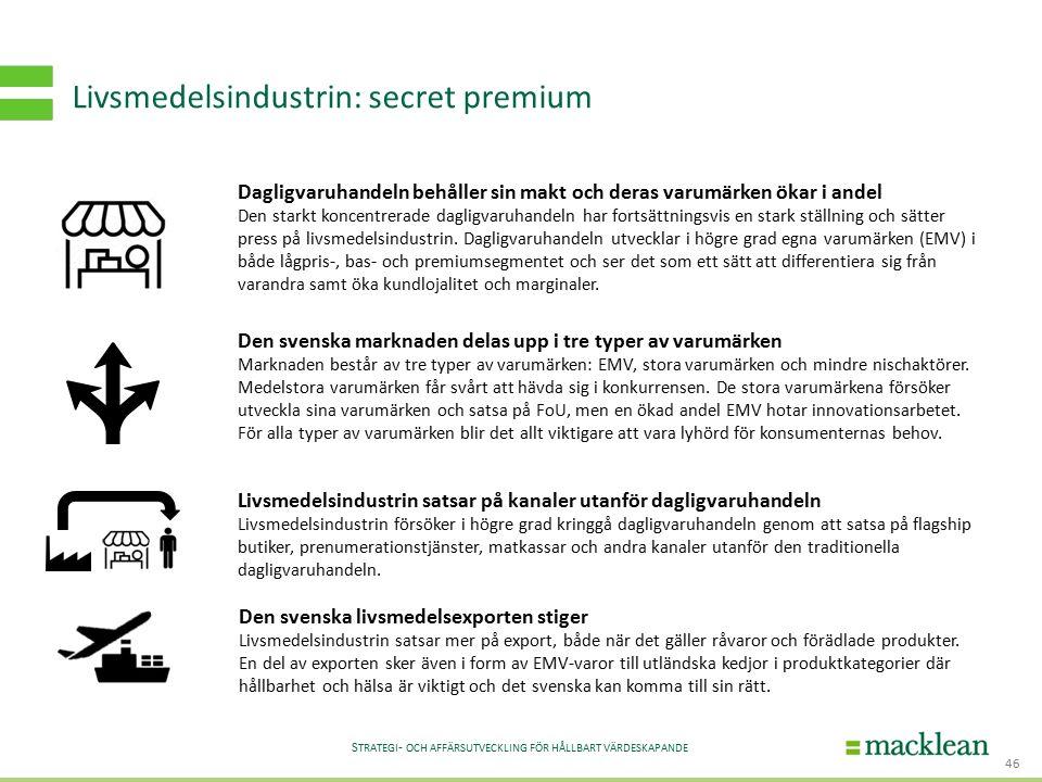 S TRATEGI - OCH AFFÄRSUTVECKLING FÖR HÅLLBART VÄRDESKAPANDE Livsmedelsindustrin: secret premium 46 Dagligvaruhandeln behåller sin makt och deras varum
