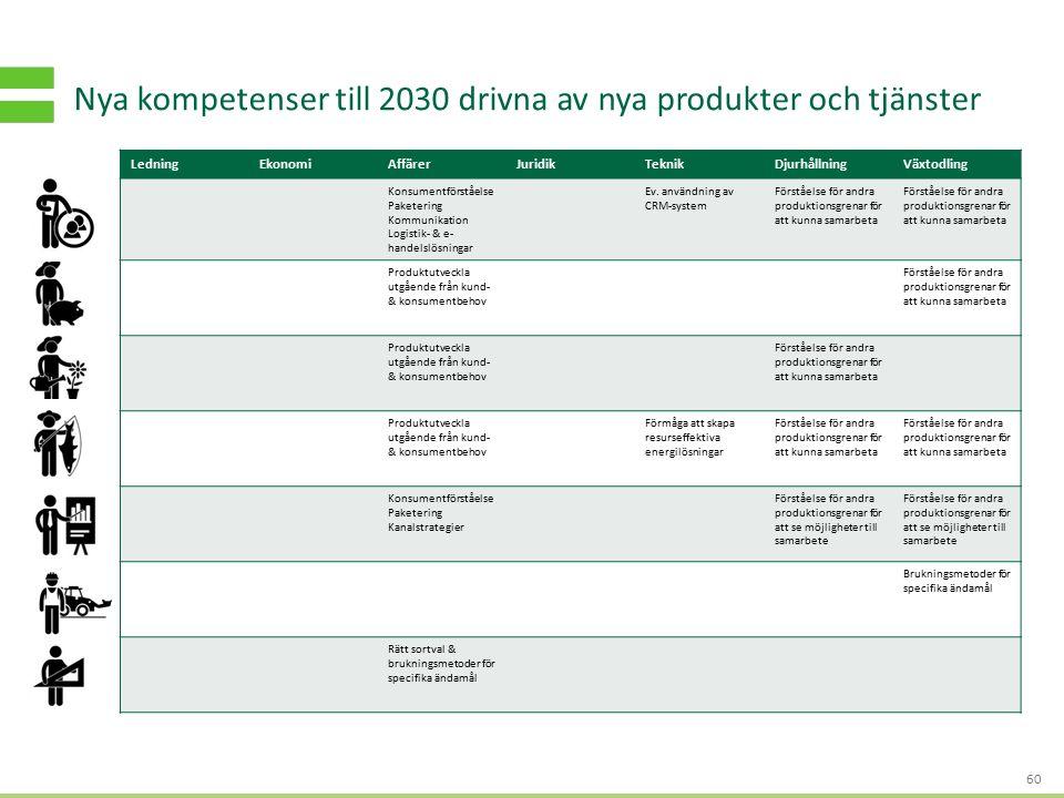 S TRATEGI - OCH AFFÄRSUTVECKLING FÖR HÅLLBART VÄRDESKAPANDE Nya kompetenser till 2030 drivna av nya produkter och tjänster 60 LedningEkonomiAffärerJuridikTeknikDjurhållningVäxtodling Konsumentförståelse Paketering Kommunikation Logistik- & e- handelslösningar Ev.