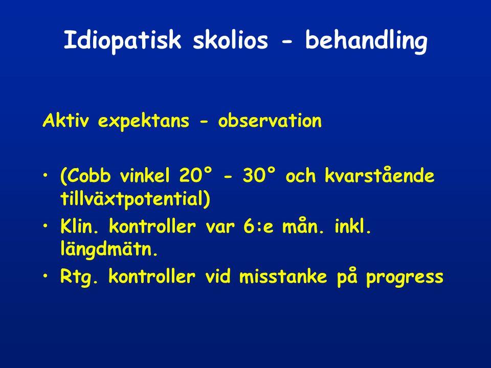 Idiopatisk skolios - behandling Aktiv expektans - observation (Cobb vinkel 20° - 30° och kvarstående tillväxtpotential) Klin.