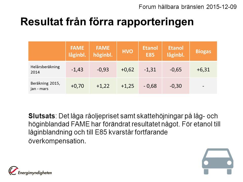 Slutsats: Det låga råoljepriset samt skattehöjningar på låg- och höginblandad FAME har förändrat resultatet något. För etanol till låginblandning och