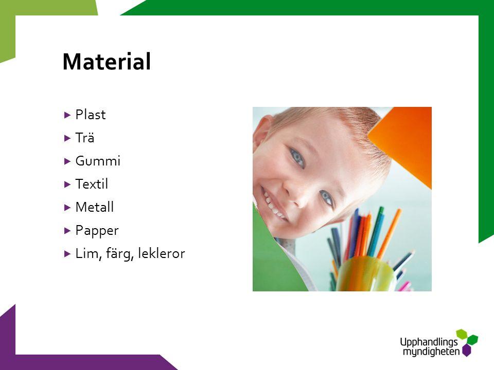 Material  Plast  Trä  Gummi  Textil  Metall  Papper  Lim, färg, lekleror
