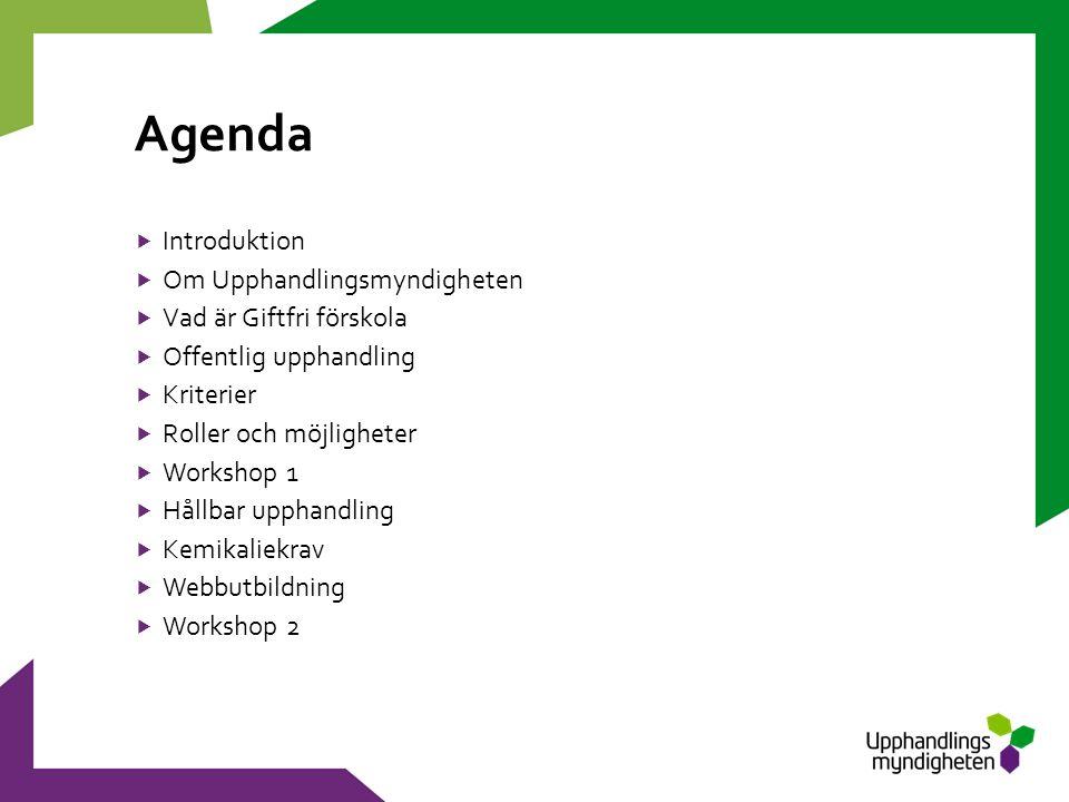 Agenda  Introduktion  Om Upphandlingsmyndigheten  Vad är Giftfri förskola  Offentlig upphandling  Kriterier  Roller och möjligheter  Workshop 1  Hållbar upphandling  Kemikaliekrav  Webbutbildning  Workshop 2