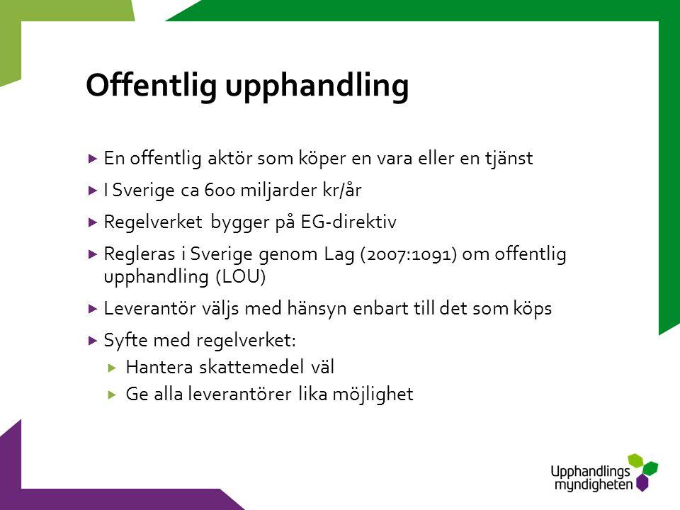 Offentlig upphandling  En offentlig aktör som köper en vara eller en tjänst  I Sverige ca 600 miljarder kr/år  Regelverket bygger på EG-direktiv  Regleras i Sverige genom Lag (2007:1091) om offentlig upphandling (LOU)  Leverantör väljs med hänsyn enbart till det som köps  Syfte med regelverket:  Hantera skattemedel väl  Ge alla leverantörer lika möjlighet