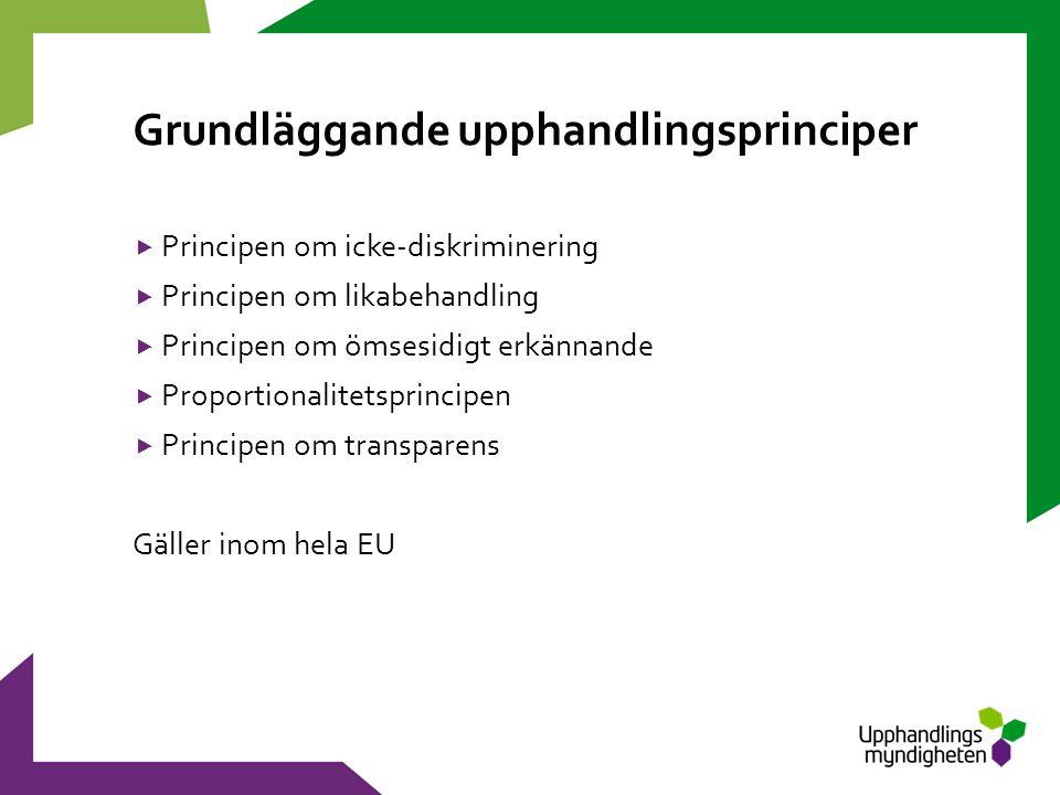Grundläggande upphandlingsprinciper  Principen om icke-diskriminering  Principen om likabehandling  Principen om ömsesidigt erkännande  Proportionalitetsprincipen  Principen om transparens Gäller inom hela EU