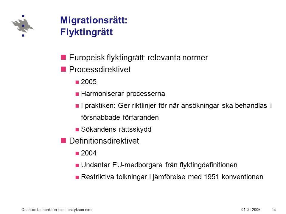 01.01.2006Osaston tai henkilön nimi, esityksen nimi14 Migrationsrätt: Flyktingrätt Europeisk flyktingrätt: relevanta normer Processdirektivet 2005 Har