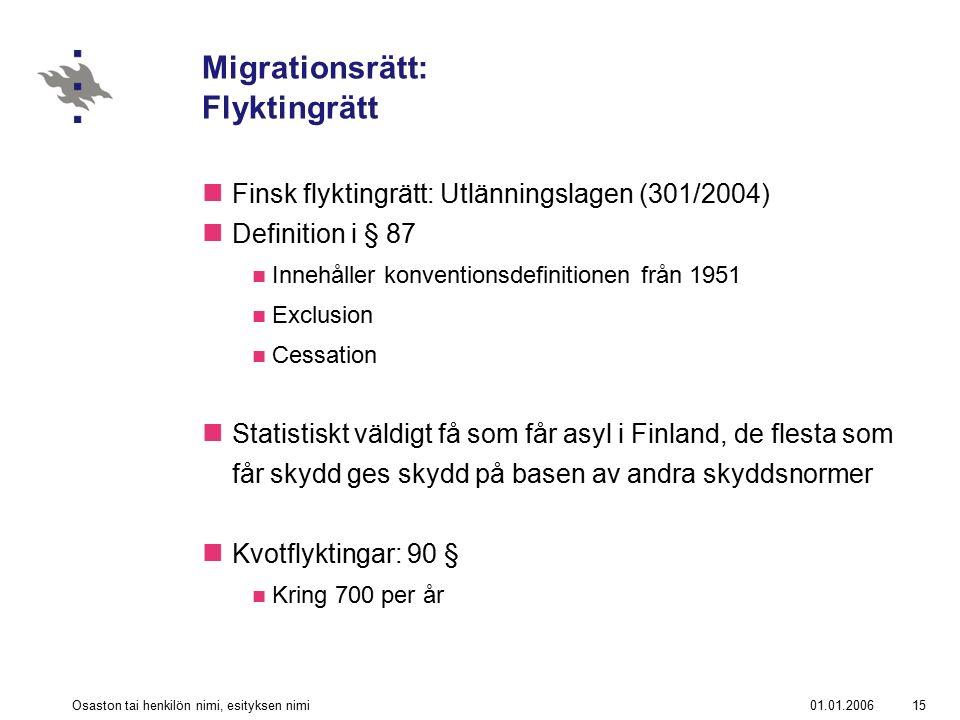 01.01.2006Osaston tai henkilön nimi, esityksen nimi15 Migrationsrätt: Flyktingrätt Finsk flyktingrätt: Utlänningslagen (301/2004) Definition i § 87 Innehåller konventionsdefinitionen från 1951 Exclusion Cessation Statistiskt väldigt få som får asyl i Finland, de flesta som får skydd ges skydd på basen av andra skyddsnormer Kvotflyktingar: 90 § Kring 700 per år