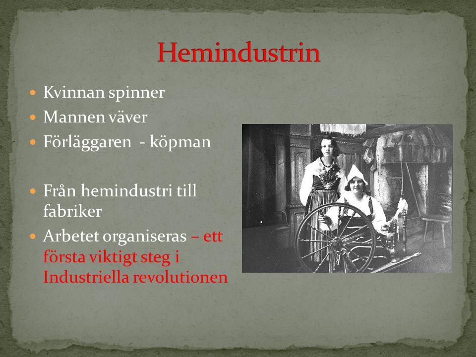Kvinnan spinner Mannen väver Förläggaren - köpman Från hemindustri till fabriker Arbetet organiseras – ett första viktigt steg i Industriella revolutionen