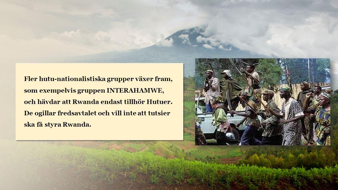 Rwanda Fler hutu-nationalistiska grupper växer fram, som exempelvis gruppen INTERAHAMWE, och hävdar att Rwanda endast tillhör Hutuer.