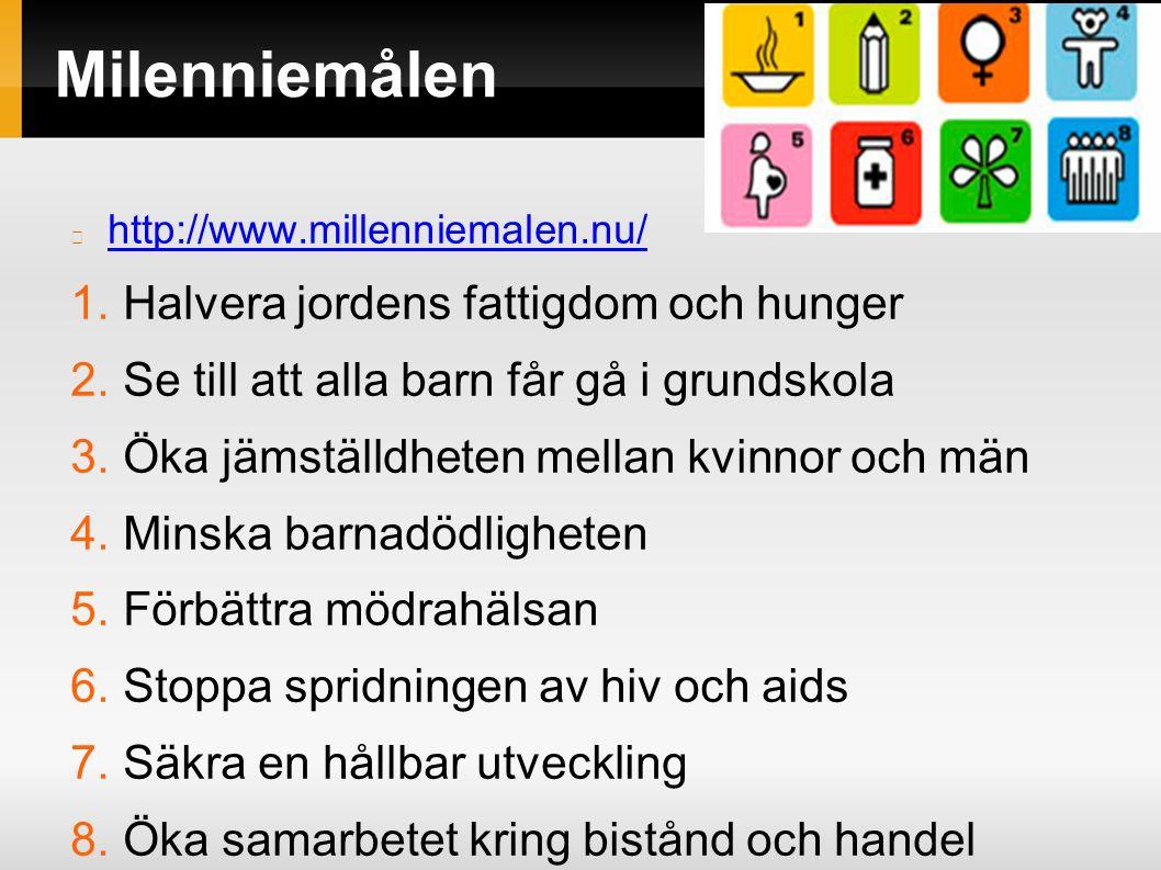 Milenniemålen http://www.millenniemalen.nu/ 1. Halvera jordens fattigdom och hunger 2.