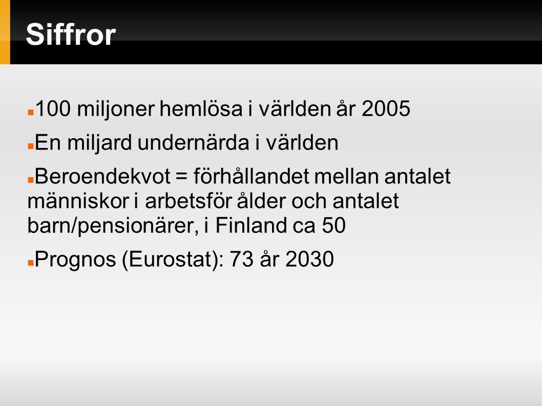 Siffror 100 miljoner hemlösa i världen år 2005 En miljard undernärda i världen Beroendekvot = förhållandet mellan antalet människor i arbetsför ålder och antalet barn/pensionärer, i Finland ca 50 Prognos (Eurostat): 73 år 2030
