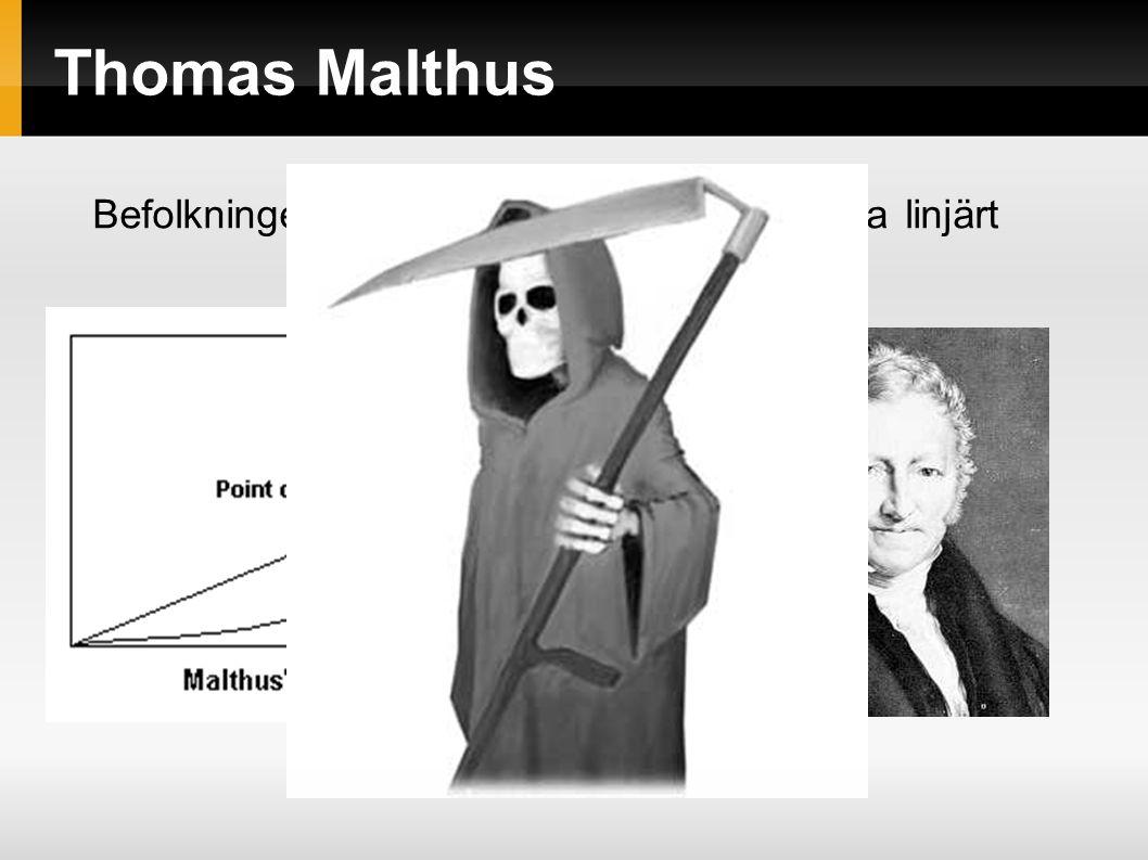 Thomas Malthus Befolkningen växer exponentiellt, resurserna linjärt