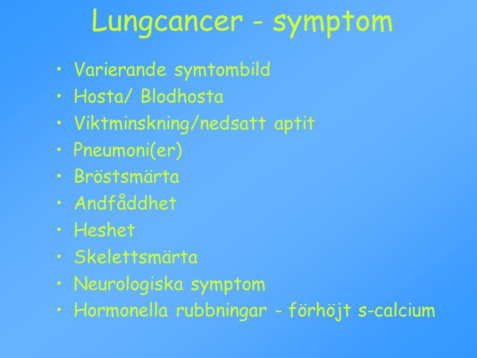Lungcancer indelning: Småcellig (SCLC) Ca 20 % Icke småcellig (NSCLC) Skivepitelcancer Adenocarcinom Storcellig cancer Övriga Stadieindelning sker i TNM