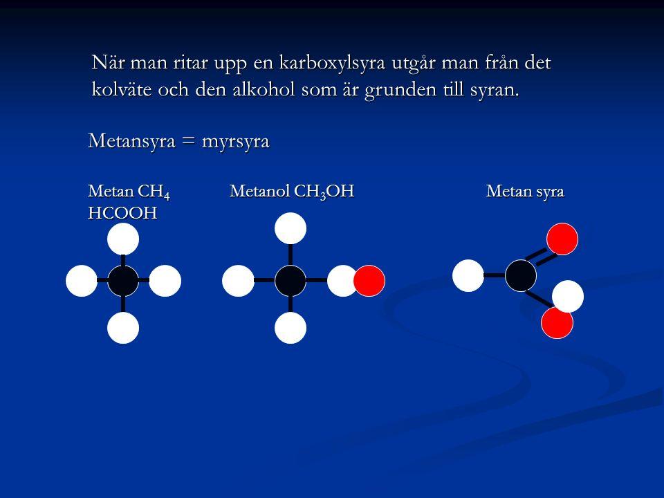 När man ritar upp en karboxylsyra utgår man från det kolväte och den alkohol som är grunden till syran. Metansyra = myrsyra Metan CH 4 Metanol CH 3 OH