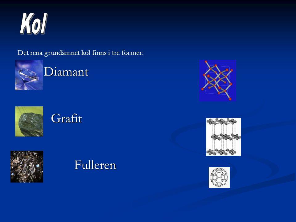 Det rena grundämnet kol finns i tre former: Diamant Grafit Fulleren