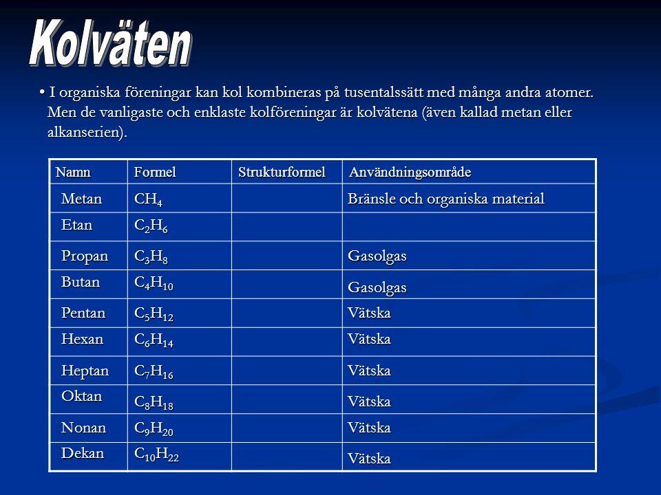I organiska föreningar kan kol kombineras på tusentalssätt med många andra atomer. I organiska föreningar kan kol kombineras på tusentalssätt med mång