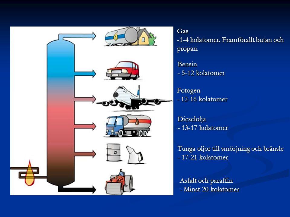 Asfalt och paraffin - Minst 20 kolatomer Tunga oljor till smörjning och bränsle - 17-21 kolatomer Dieselolja - 13-17 kolatomer Fotogen - 12-16 kolatom