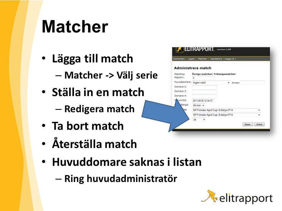 Matcher Lägga till match – Matcher -> Välj serie Ställa in en match – Redigera match Ta bort match Återställa match Huvuddomare saknas i listan – Ring huvudadministratör