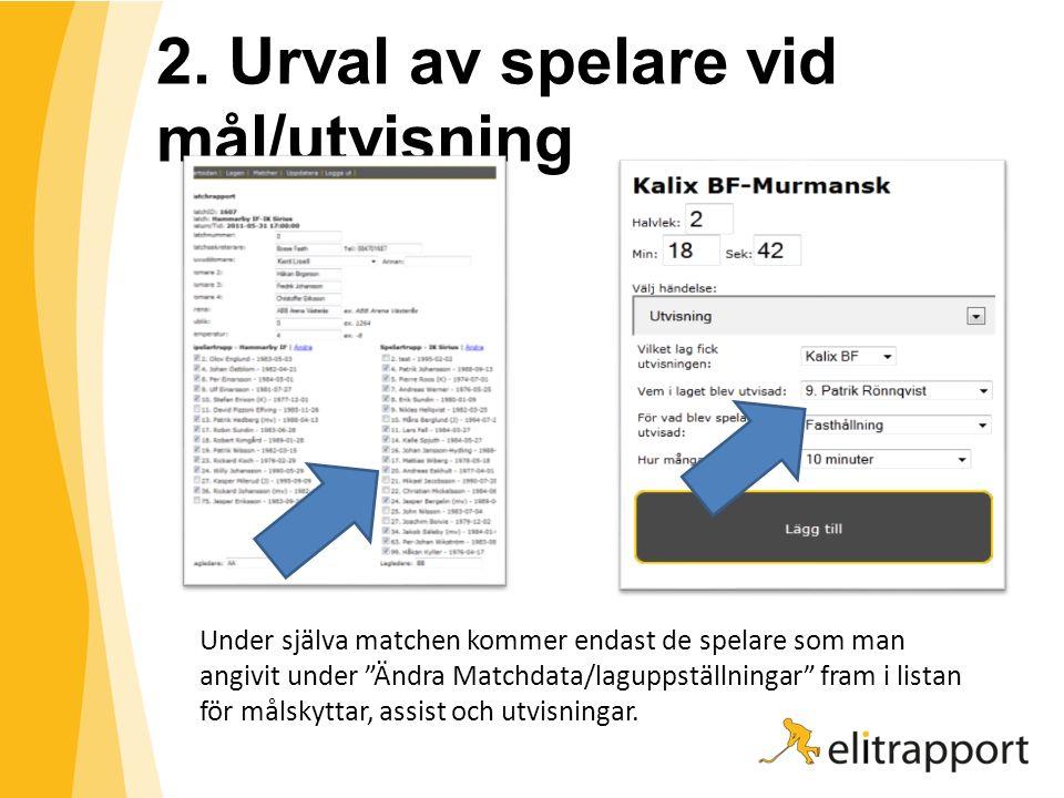 """2. Urval av spelare vid mål/utvisning Under själva matchen kommer endast de spelare som man angivit under """"Ändra Matchdata/laguppställningar"""" fram i l"""