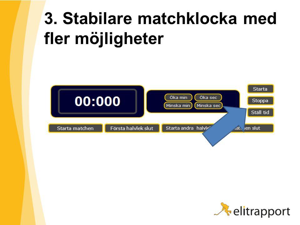 3. Stabilare matchklocka med fler möjligheter Starta Stoppa Ställ tid Starta matchenFörsta halvlek slut Starta andra halvlekMatchen slut