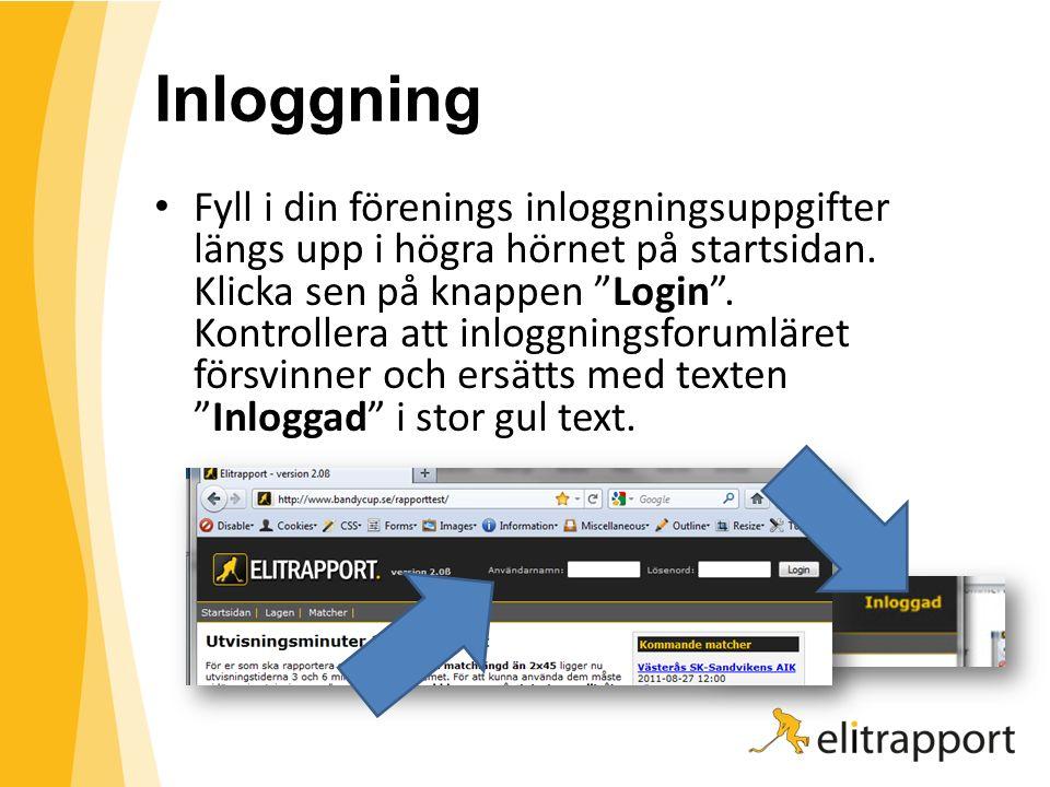"""Inloggning Fyll i din förenings inloggningsuppgifter längs upp i högra hörnet på startsidan. Klicka sen på knappen """"Login"""". Kontrollera att inloggning"""