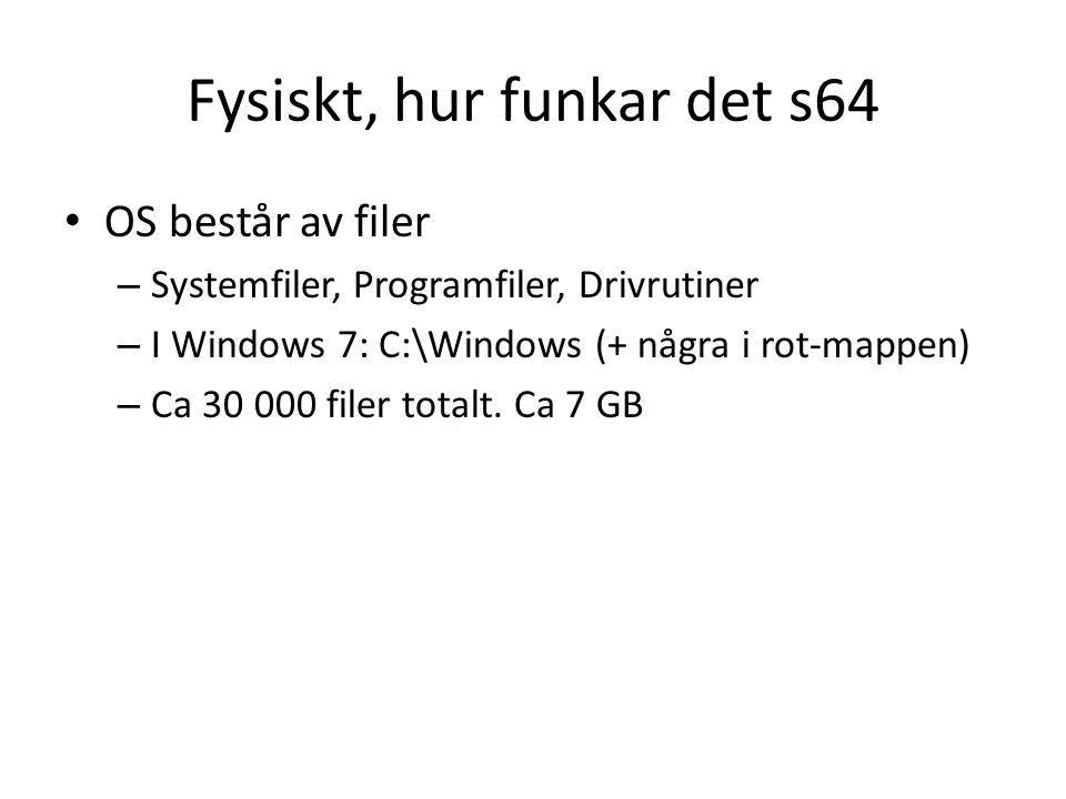 Fysiskt, hur funkar det s64 OS består av filer – Systemfiler, Programfiler, Drivrutiner – I Windows 7: C:\Windows (+ några i rot-mappen) – Ca 30 000 filer totalt.