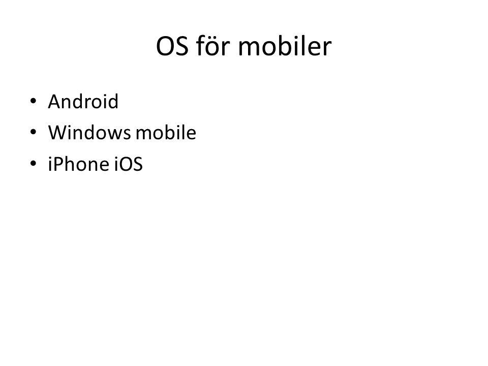 OS för mobiler Android Windows mobile iPhone iOS