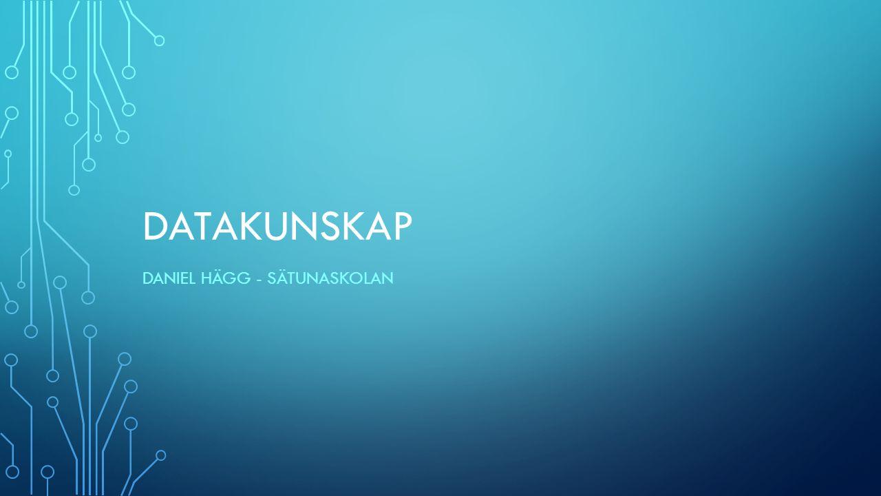 DATAKUNSKAP Av Daniel Hägg Sätunaskolan