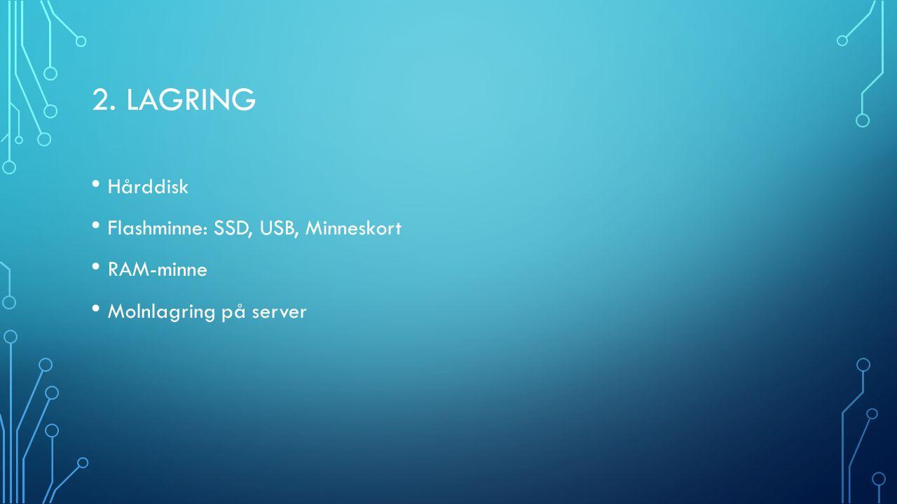 2. LAGRING Hårddisk Flashminne: SSD, USB, Minneskort RAM-minne Molnlagring på server