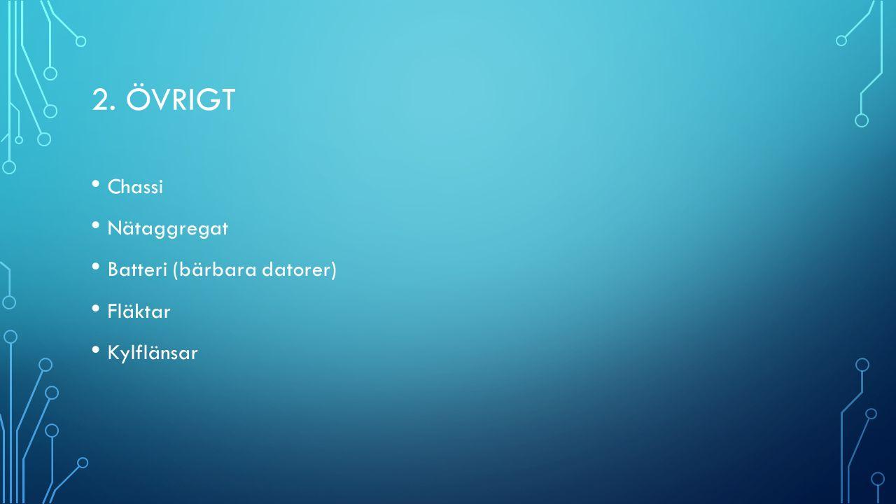 2. ÖVRIGT Chassi Nätaggregat Batteri (bärbara datorer) Fläktar Kylflänsar