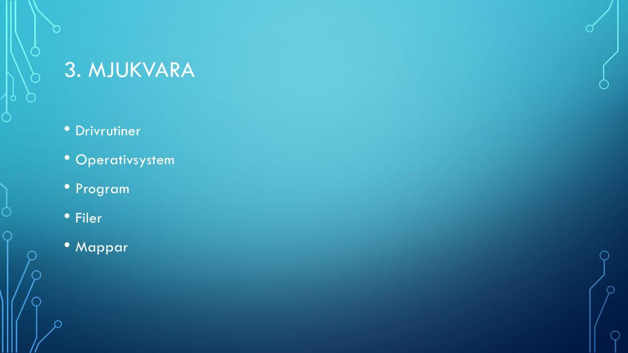 3. MJUKVARA Drivrutiner Operativsystem Program Filer Mappar