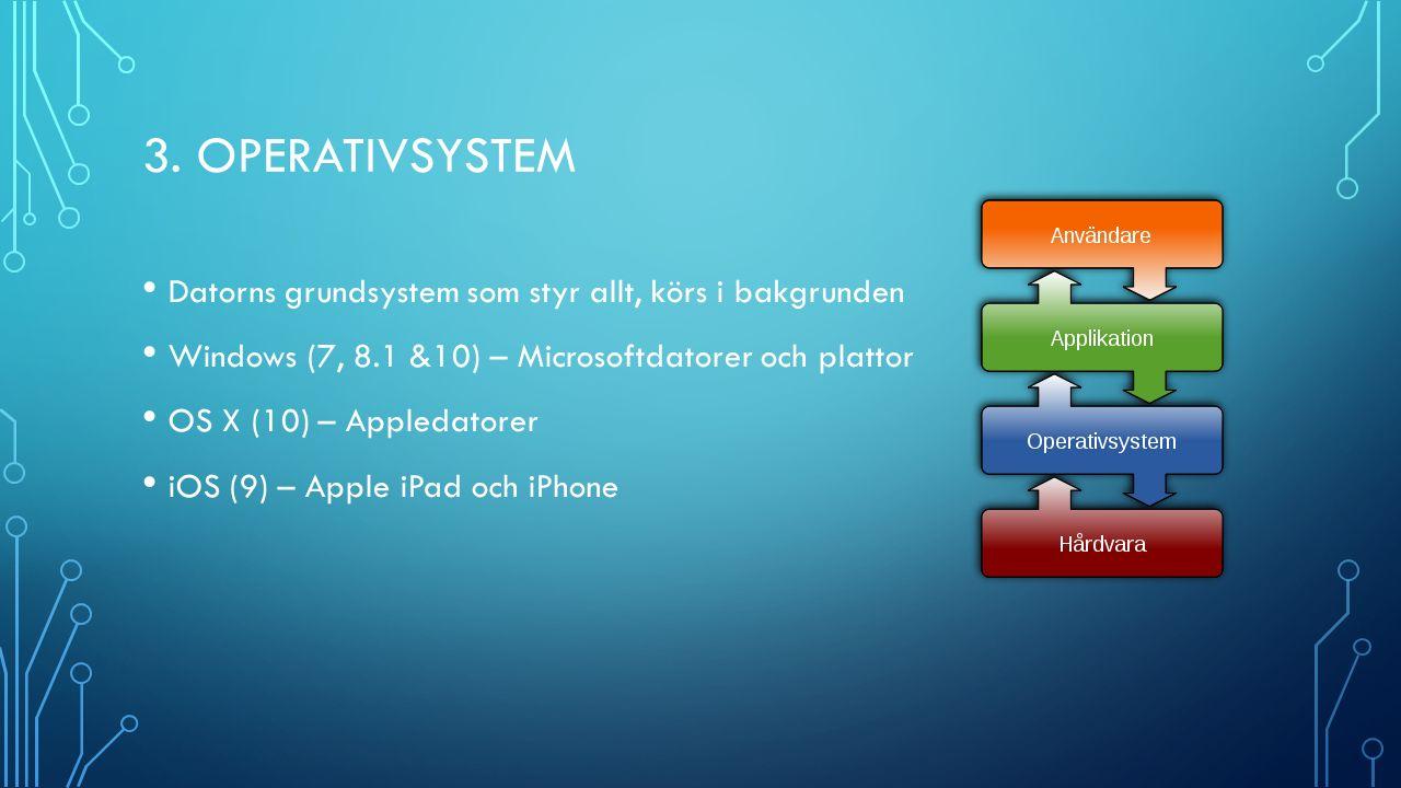 3. OPERATIVSYSTEM Datorns grundsystem som styr allt, körs i bakgrunden Windows (7, 8.1 &10) – Microsoftdatorer och plattor OS X (10) – Appledatorer iO