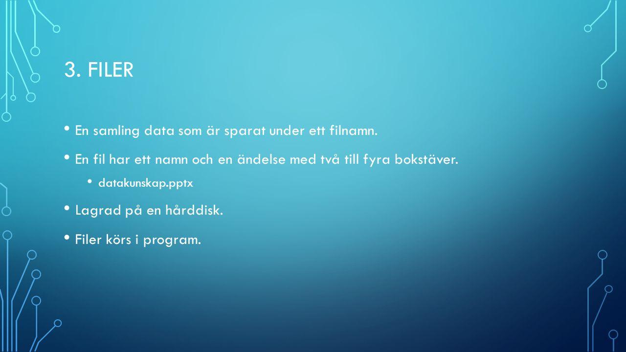 3. FILER En samling data som är sparat under ett filnamn.