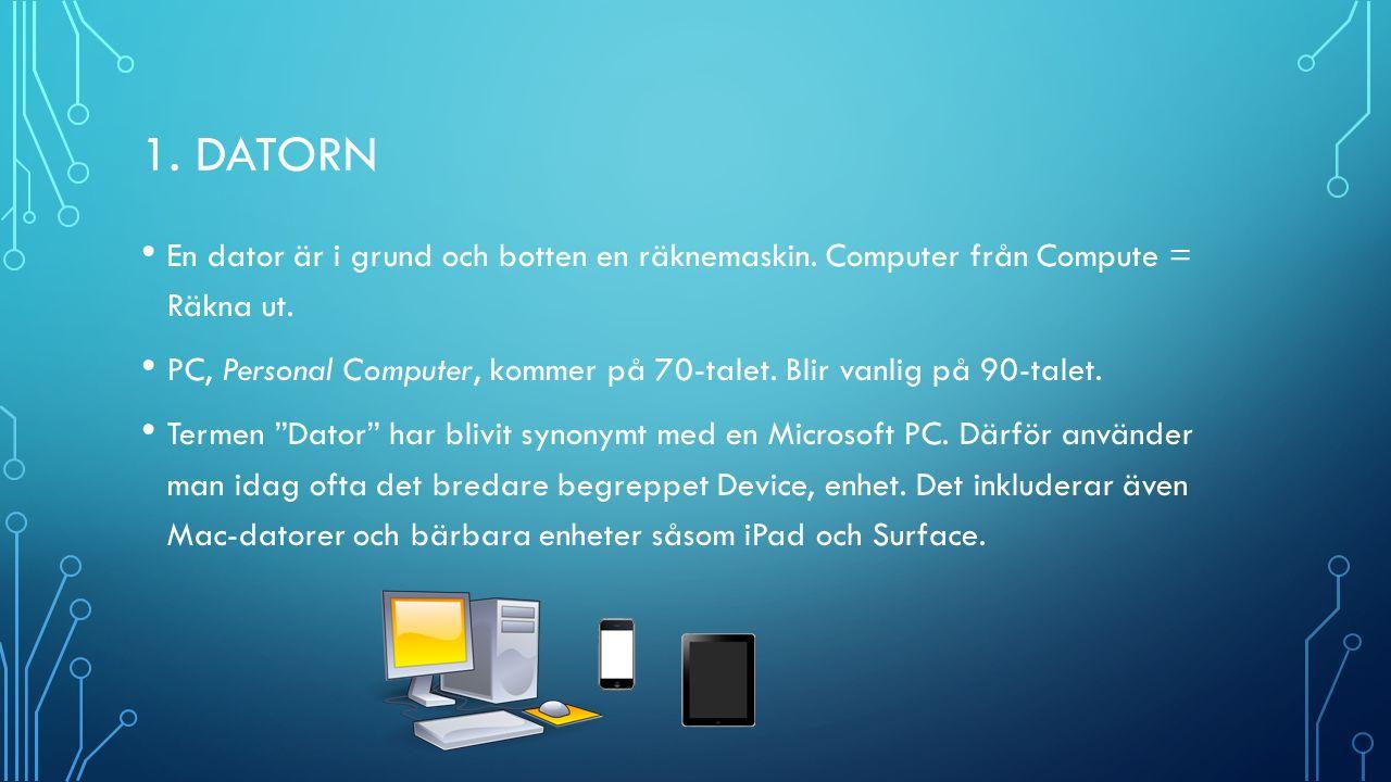 1. DATORN En dator är i grund och botten en räknemaskin.