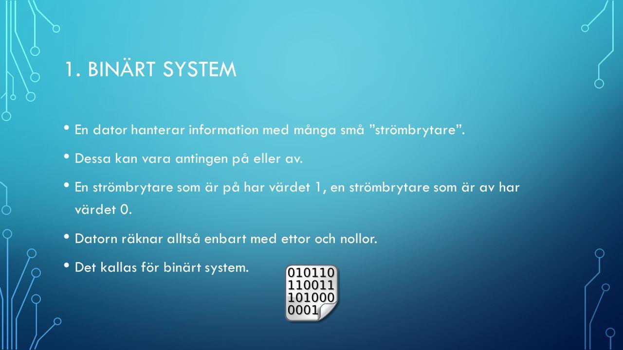 1. BINÄRT SYSTEM En dator hanterar information med många små strömbrytare .