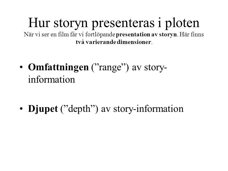 """Hur storyn presenteras i ploten När vi ser en film får vi fortlöpande presentation av storyn. Här finns två varierande dimensioner. Omfattningen (""""ran"""