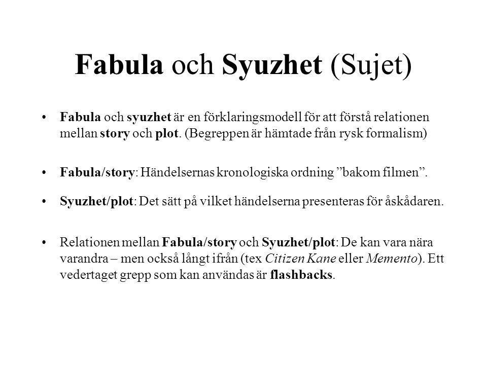 Fabula och Syuzhet (Sujet) Fabula och syuzhet är en förklaringsmodell för att förstå relationen mellan story och plot. (Begreppen är hämtade från rysk