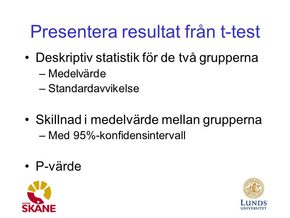 Presentera resultat från t-test Deskriptiv statistik för de två grupperna –Medelvärde –Standardavvikelse Skillnad i medelvärde mellan grupperna –Med 95%-konfidensintervall P-värde