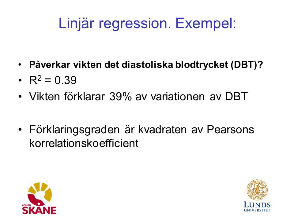 Linjär regression. Exempel: Påverkar vikten det diastoliska blodtrycket (DBT).