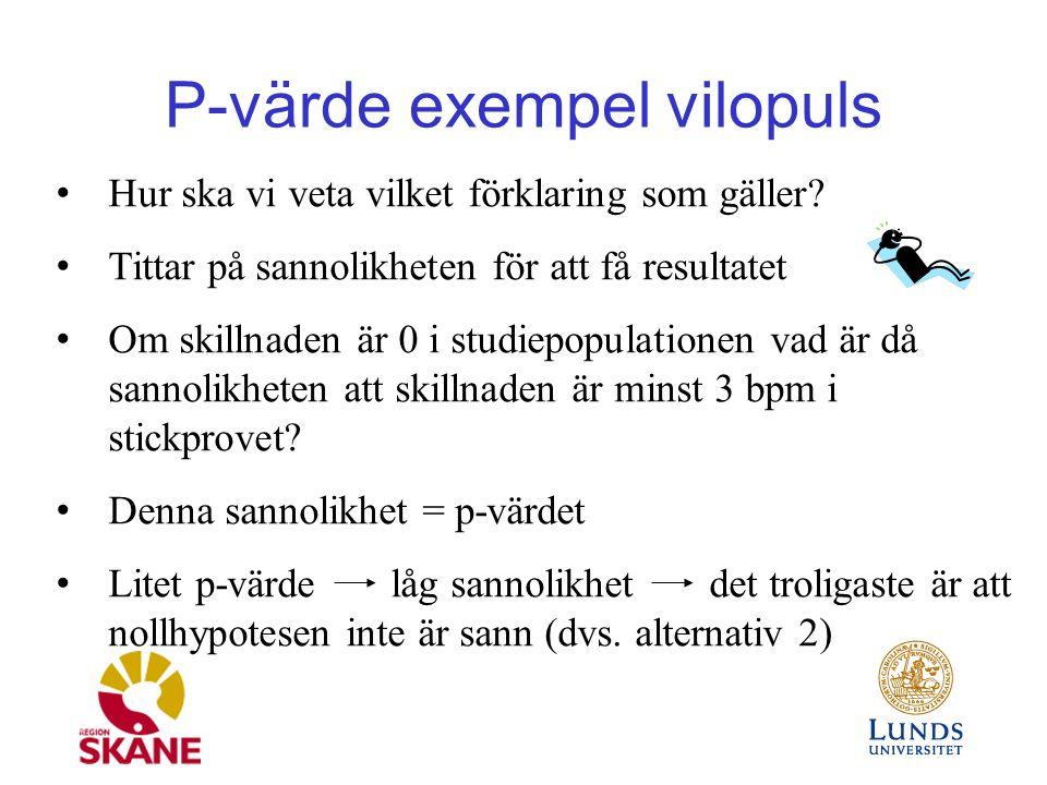 P-värde exempel vilopuls Hur ska vi veta vilket förklaring som gäller.
